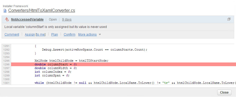 Violation in SonarQube