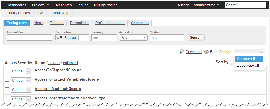 SonarQube Quality Profile Bulk Change